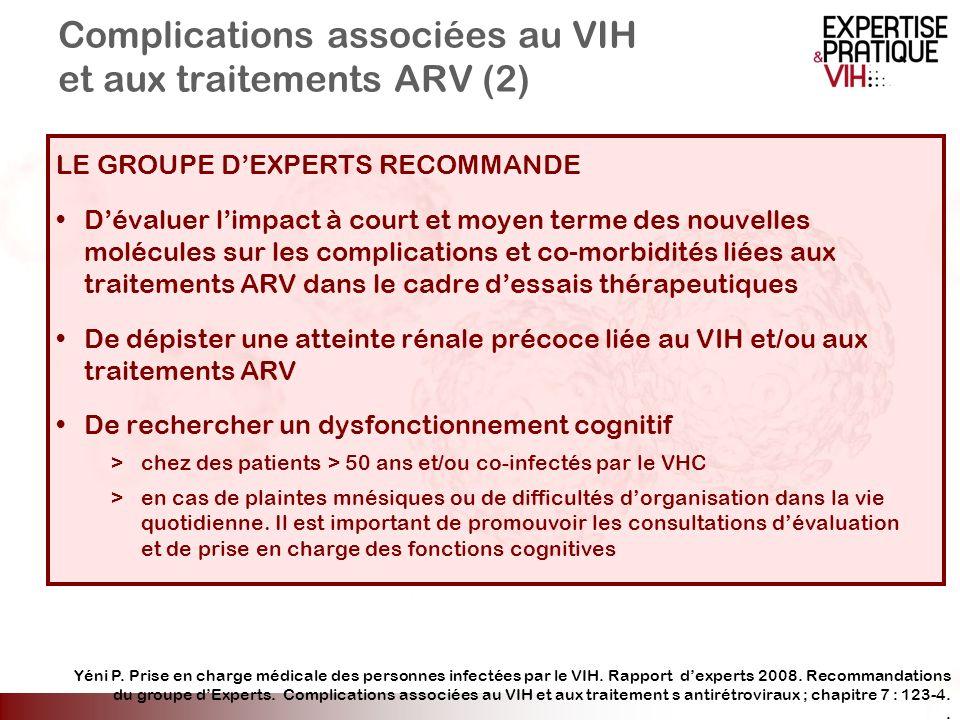 Complications associées au VIH et aux traitements ARV (2) LE GROUPE DEXPERTS RECOMMANDE Dévaluer limpact à court et moyen terme des nouvelles molécule