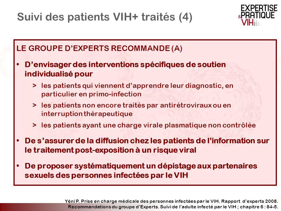 Suivi des patients VIH+ traités (4) LE GROUPE DEXPERTS RECOMMANDE (A) Denvisager des interventions spécifiques de soutien individualisé pour >les pati