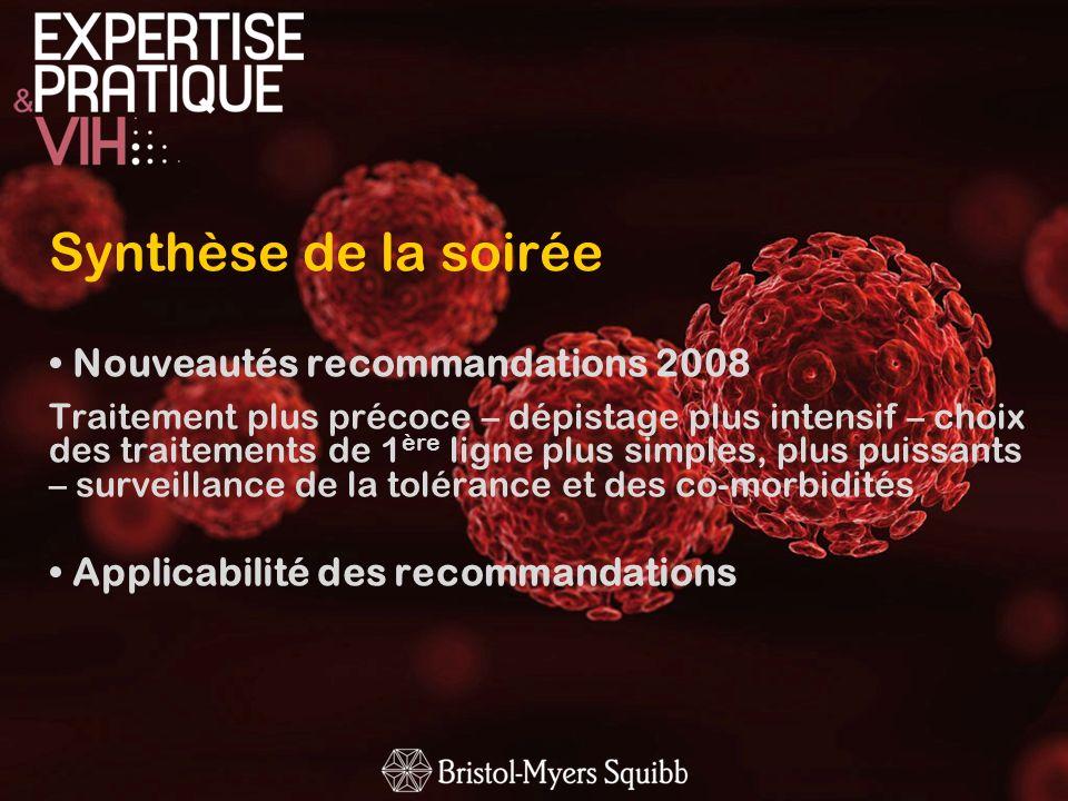 Synthèse de la soirée Nouveautés recommandations 2008 Traitement plus précoce – dépistage plus intensif – choix des traitements de 1 ère ligne plus si