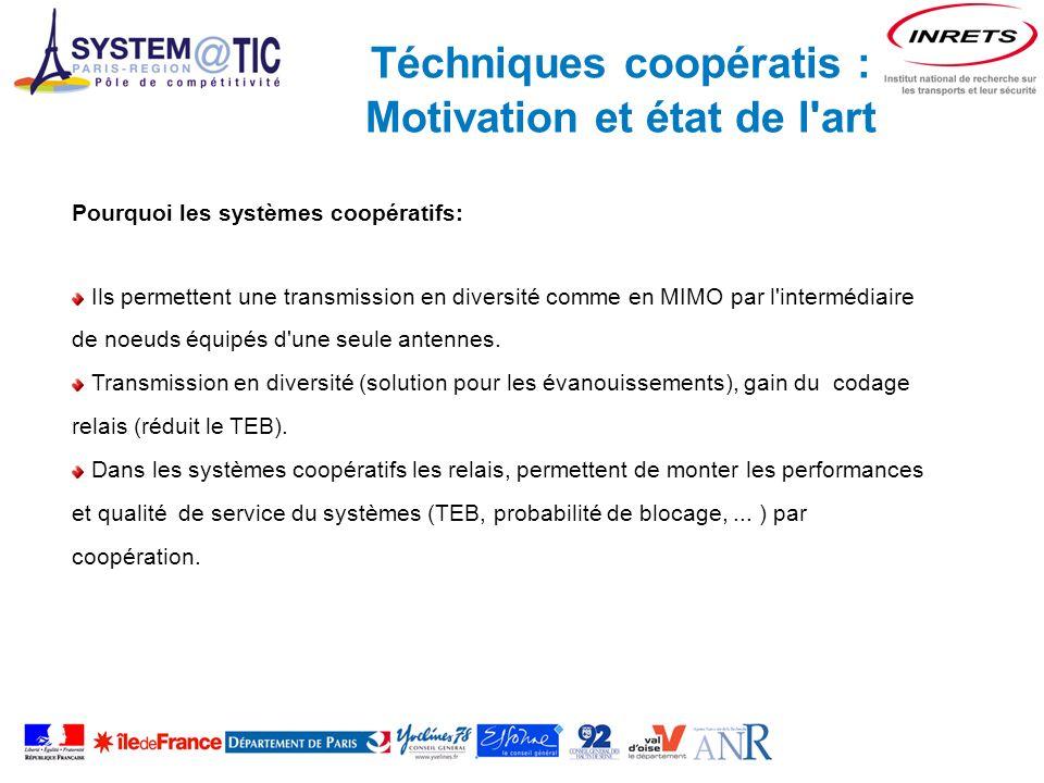 Téchniques coopératis : Motivation et état de l art Pourquoi les systèmes coopératifs: Ils permettent une transmission en diversité comme en MIMO par l intermédiaire de noeuds équipés d une seule antennes.