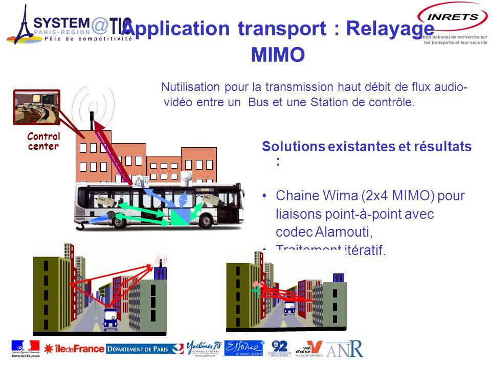 Application transport : Relayage MIMO Control center Nutilisation pour la transmission haut débit de flux audio- vidéo entre un Bus et une Station de contrôle.