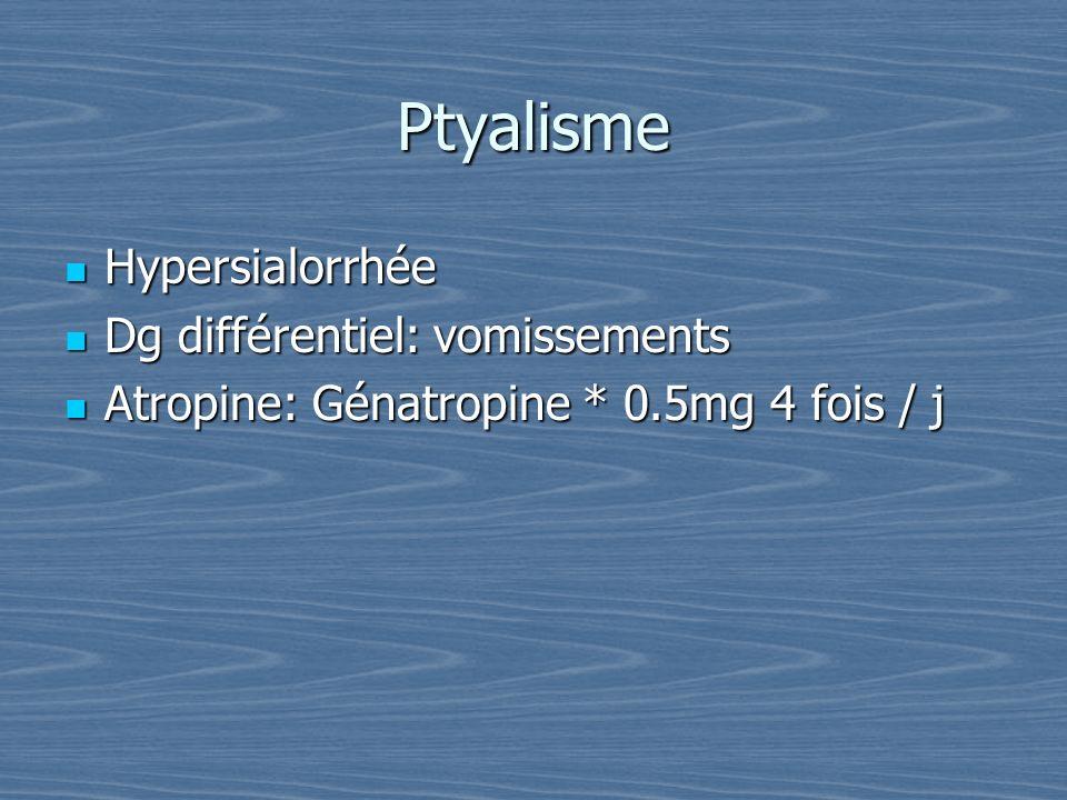 Ptyalisme Hypersialorrhée Hypersialorrhée Dg différentiel: vomissements Dg différentiel: vomissements Atropine: Génatropine * 0.5mg 4 fois / j Atropin