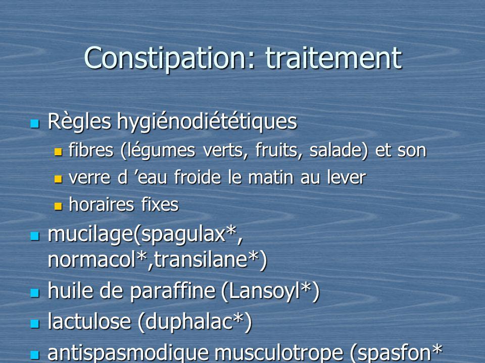Constipation: traitement Règles hygiénodiététiques Règles hygiénodiététiques fibres (légumes verts, fruits, salade) et son fibres (légumes verts, frui