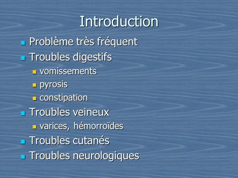 Introduction Problème très fréquent Problème très fréquent Troubles digestifs Troubles digestifs vomissements vomissements pyrosis pyrosis constipatio