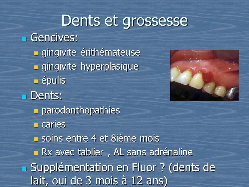 Dents et grossesse Gencives: Gencives: gingivite érithémateuse gingivite érithémateuse gingivite hyperplasique gingivite hyperplasique épulis épulis D