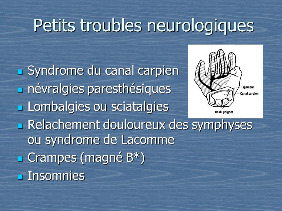 Petits troubles neurologiques Syndrome du canal carpien Syndrome du canal carpien névralgies paresthésiques névralgies paresthésiques Lombalgies ou sc