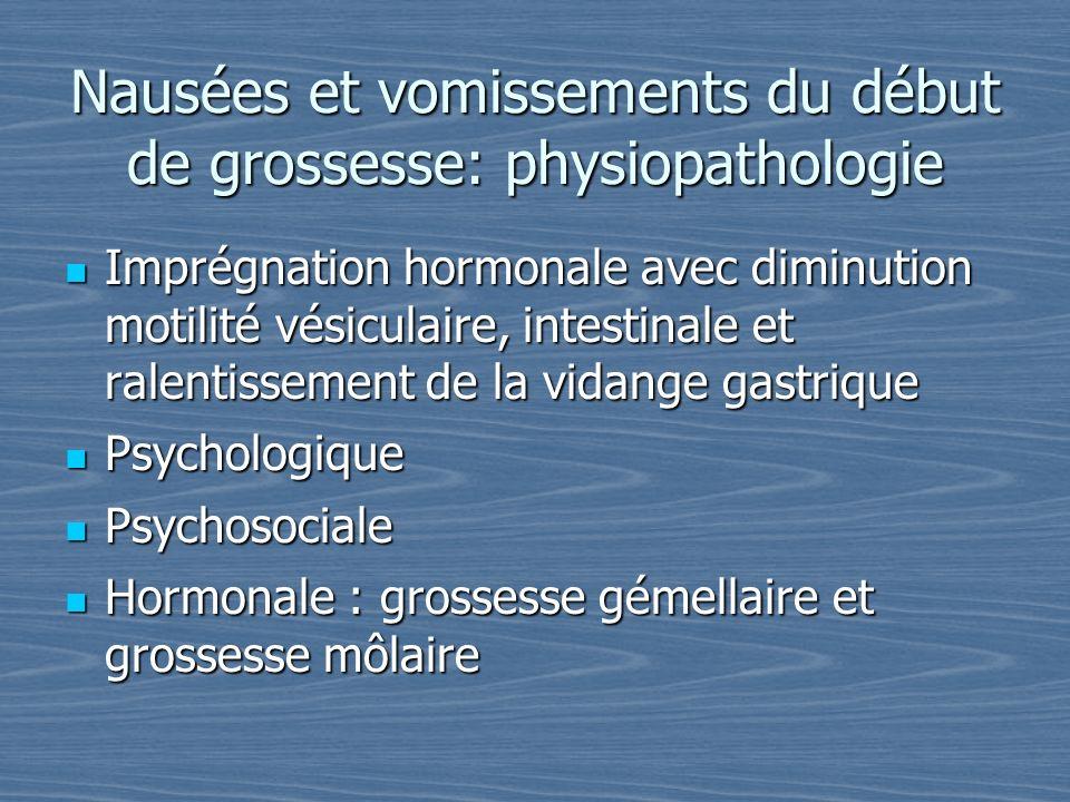 Nausées et vomissements du début de grossesse: physiopathologie Imprégnation hormonale avec diminution motilité vésiculaire, intestinale et ralentisse