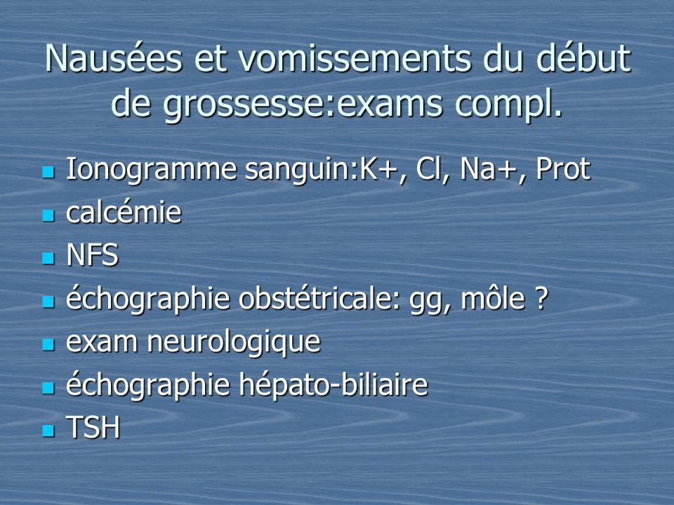Nausées et vomissements du début de grossesse:exams compl. Ionogramme sanguin:K+, Cl, Na+, Prot Ionogramme sanguin:K+, Cl, Na+, Prot calcémie calcémie