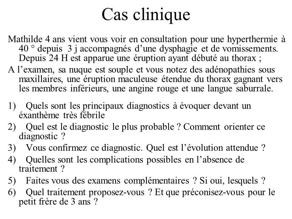 Cas clinique Mathilde 4 ans vient vous voir en consultation pour une hyperthermie à 40 ° depuis 3 j accompagnés dune dysphagie et de vomissements. Dep
