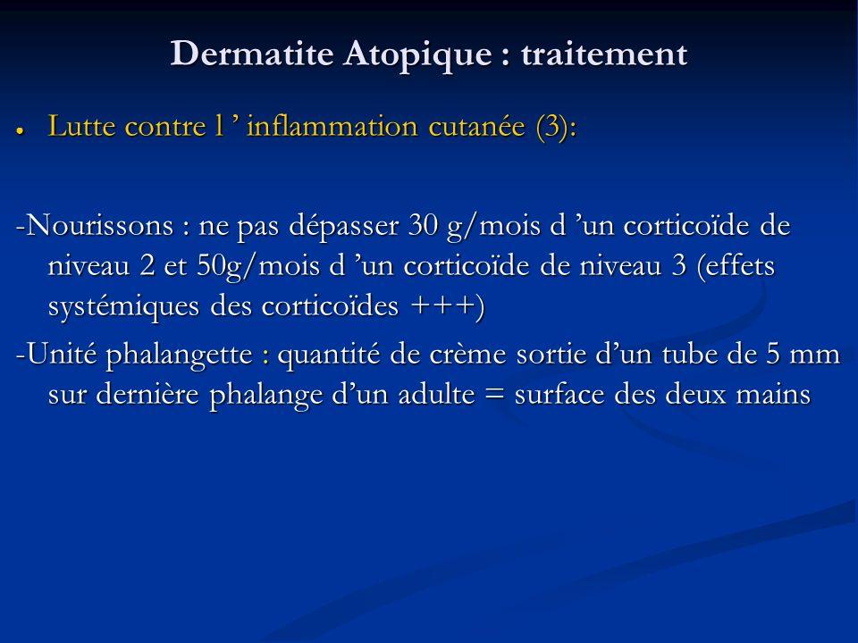 Dermatite Atopique : traitement Lutte contre l inflammation cutanée (3): Lutte contre l inflammation cutanée (3): -Nourissons : ne pas dépasser 30 g/mois d un corticoïde de niveau 2 et 50g/mois d un corticoïde de niveau 3 (effets systémiques des corticoïdes +++) -Unité phalangette : quantité de crème sortie dun tube de 5 mm sur dernière phalange dun adulte = surface des deux mains