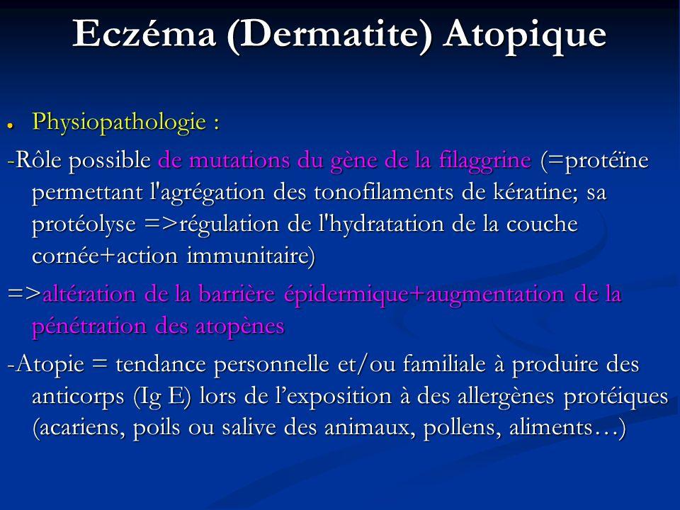 Eczéma (Dermatite) Atopique Physiopathologie : Physiopathologie : -Rôle possible de mutations du gène de la filaggrine (=protéïne permettant l agrégation des tonofilaments de kératine; sa protéolyse =>régulation de l hydratation de la couche cornée+action immunitaire) =>altération de la barrière épidermique+augmentation de la pénétration des atopènes -Atopie = tendance personnelle et/ou familiale à produire des anticorps (Ig E) lors de lexposition à des allergènes protéiques (acariens, poils ou salive des animaux, pollens, aliments…)