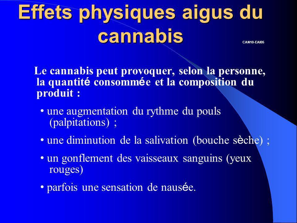 Effets physiques aigus du cannabis Le cannabis peut provoquer, selon la personne, la quantit é consomm é e et la composition du produit : une augmenta