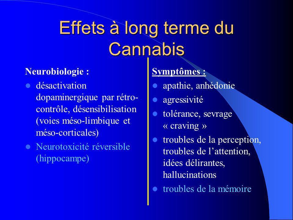 Effets à long terme du Cannabis Neurobiologie : désactivation dopaminergique par rétro- contrôle, désensibilisation (voies méso-limbique et méso-corti
