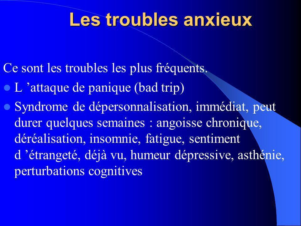 Les troubles anxieux Ce sont les troubles les plus fréquents. L attaque de panique (bad trip) Syndrome de dépersonnalisation, immédiat, peut durer que