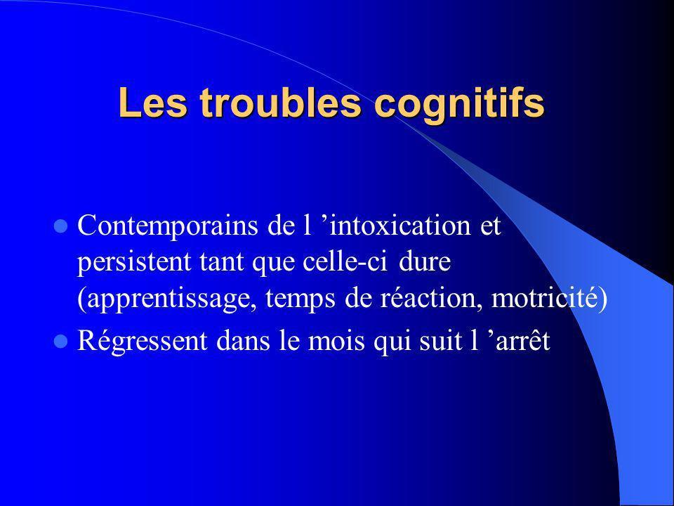 Les troubles cognitifs Contemporains de l intoxication et persistent tant que celle-ci dure (apprentissage, temps de réaction, motricité) Régressent d