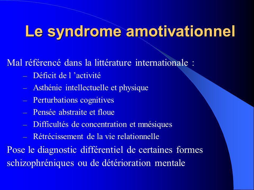 Le syndrome amotivationnel Mal référencé dans la littérature internationale : – Déficit de l activité – Asthénie intellectuelle et physique – Perturba