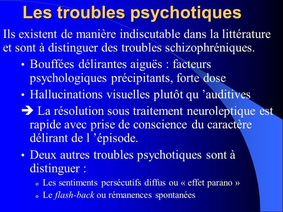 Les troubles psychotiques Ils existent de manière indiscutable dans la littérature et sont à distinguer des troubles schizophréniques. Bouffées délira