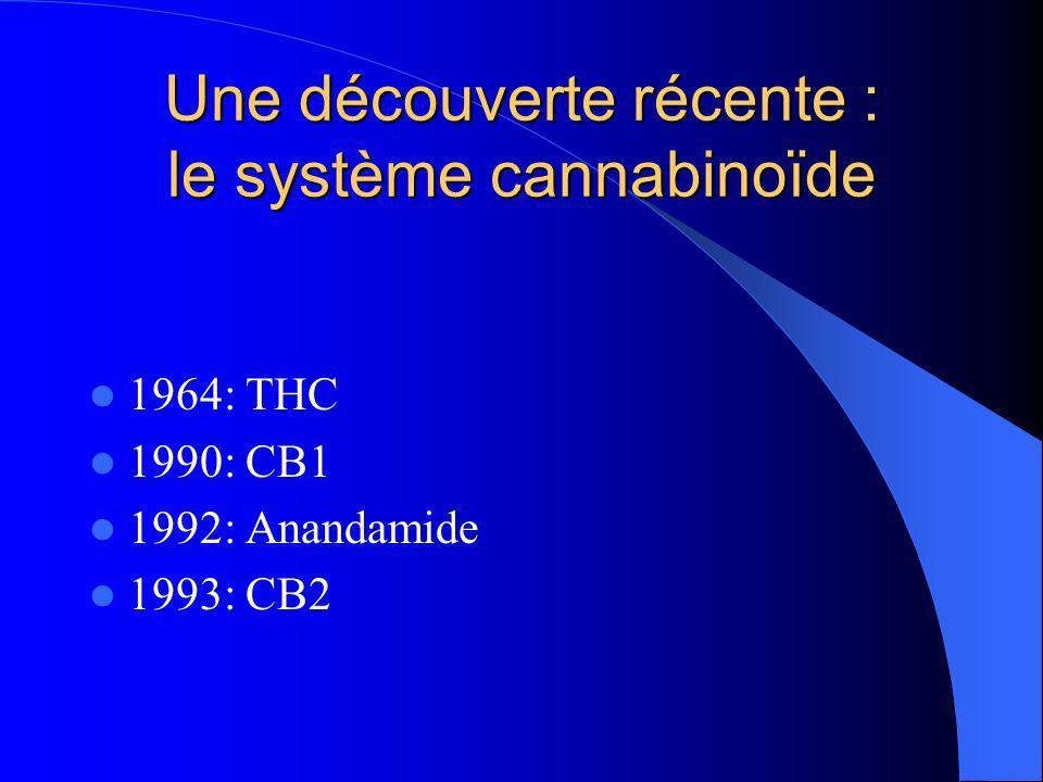 Système cannabinoïde endogène Récepteurs CB1 Structures anatomiques = signes cliniques la coordination motrice +++ - GG de la base (substance noire, globus pallidus, noyau caudé et putamen) - cervelet la mémoire +++ ( lhippocampe ) les émotions ++ ( lamygdale ) la perception de la douleur + ( la corne dorsale de la moelle épinière ) système de récompense + ( noyau accumbens ) Récepteurs CB2 Localisation périphérique; gg lymphatiques, les lymphocytes, la rate… Système immunitaire Effets immunomodulateurs