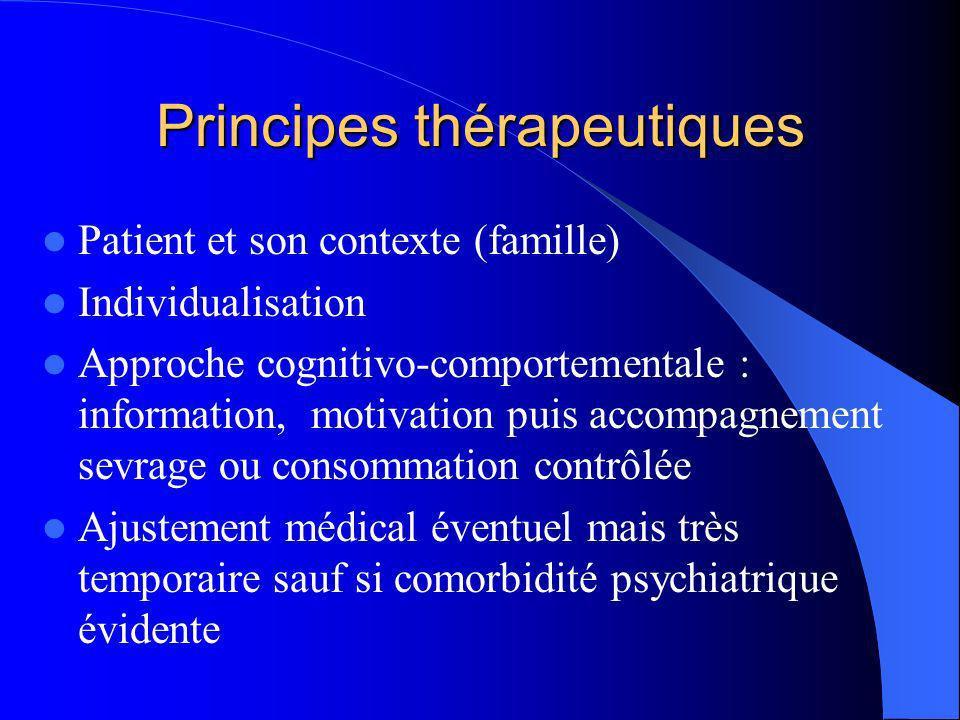 Principes thérapeutiques Patient et son contexte (famille) Individualisation Approche cognitivo-comportementale : information, motivation puis accompa