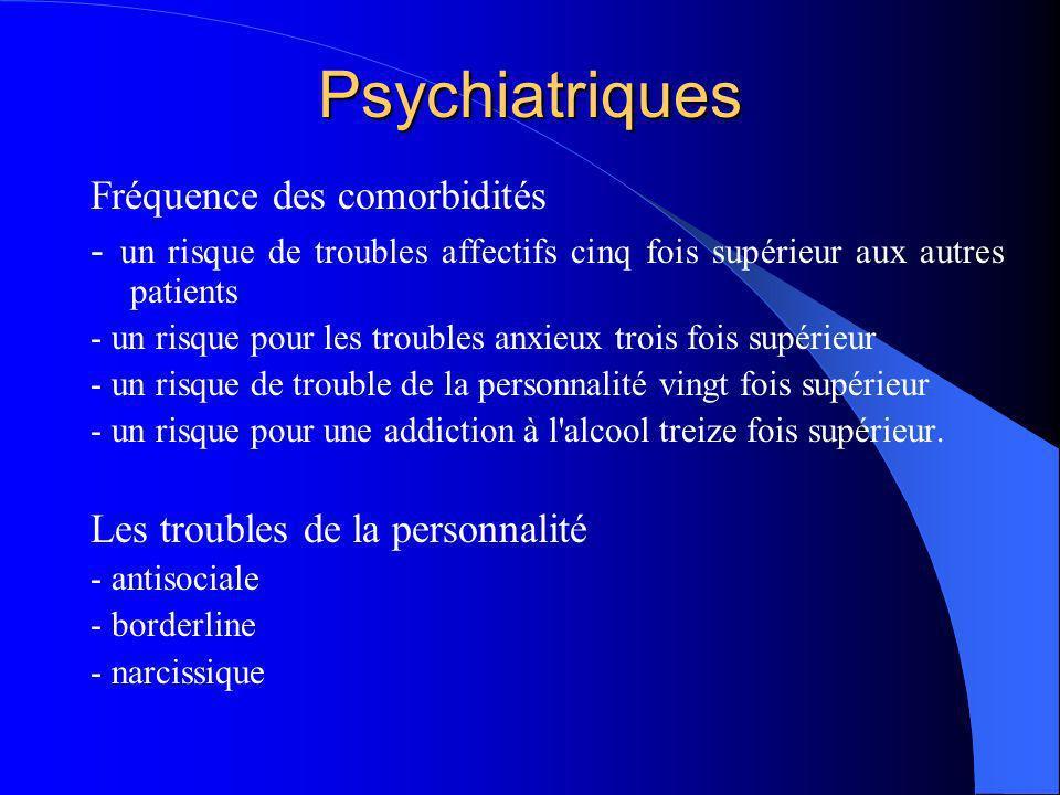 Psychiatriques Fréquence des comorbidités - un risque de troubles affectifs cinq fois supérieur aux autres patients - un risque pour les troubles anxi