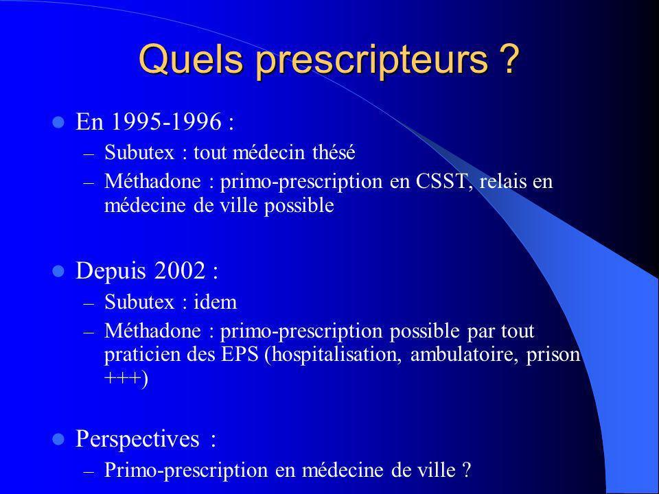 Quels prescripteurs ? En 1995-1996 : – Subutex : tout médecin thésé – Méthadone : primo-prescription en CSST, relais en médecine de ville possible Dep