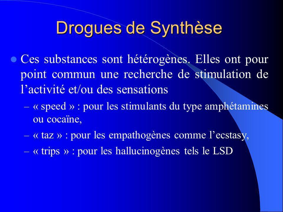 Drogues de Synthèse Ces substances sont hétérogènes. Elles ont pour point commun une recherche de stimulation de lactivité et/ou des sensations – « sp