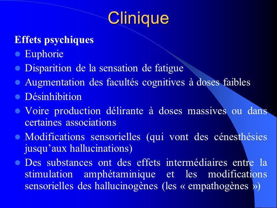 Clinique Effets psychiques Euphorie Disparition de la sensation de fatigue Augmentation des facultés cognitives à doses faibles Désinhibition Voire pr