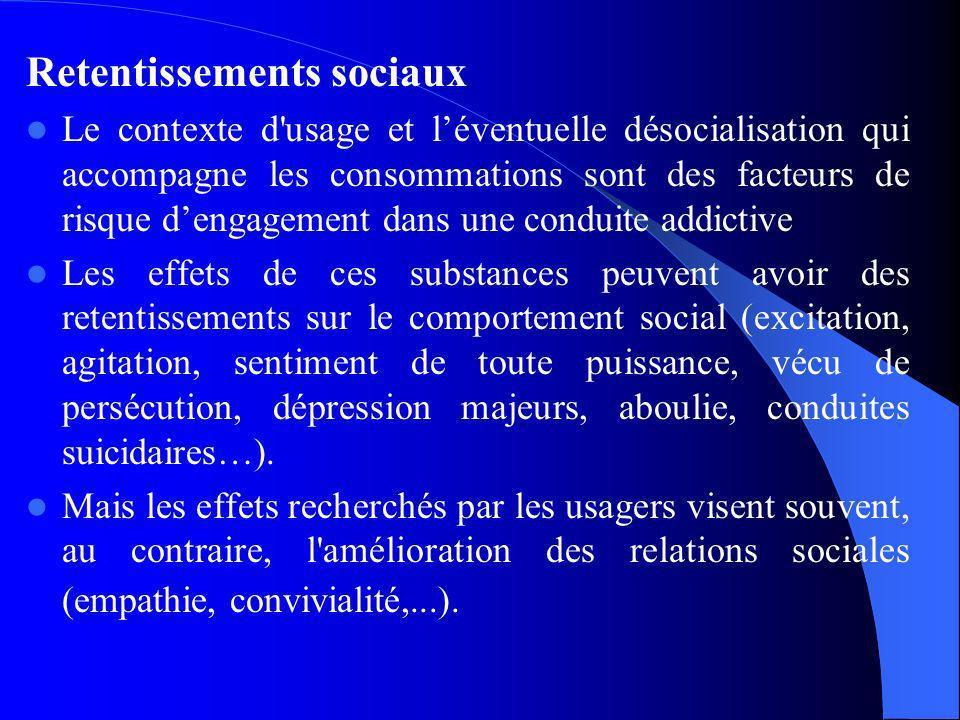 Retentissements sociaux Le contexte d'usage et léventuelle désocialisation qui accompagne les consommations sont des facteurs de risque dengagement da