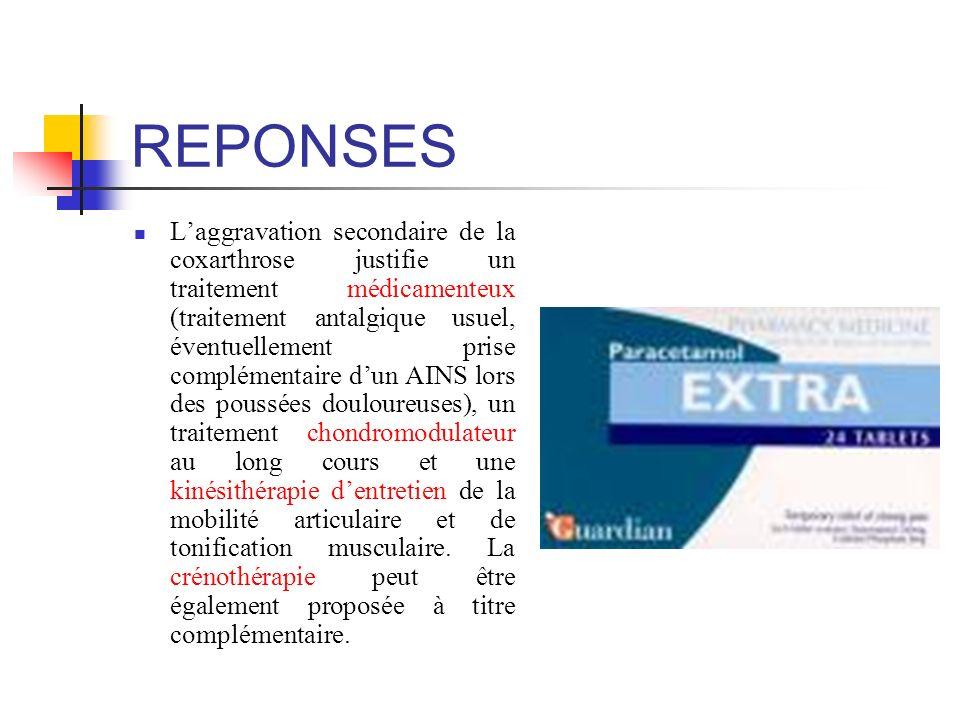 REPONSES Laggravation secondaire de la coxarthrose justifie un traitement médicamenteux (traitement antalgique usuel, éventuellement prise complémenta