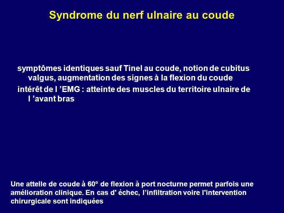 Syndrome du nerf ulnaire au coude symptômes identiques sauf Tinel au coude, notion de cubitus valgus, augmentation des signes à la flexion du coude in