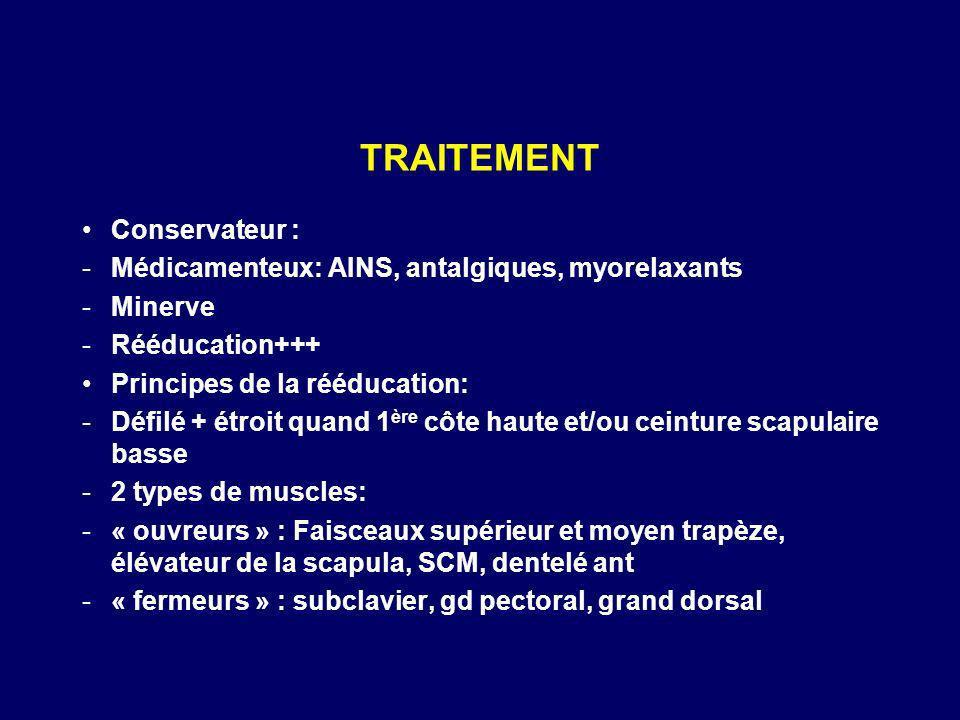 TRAITEMENT Conservateur : -Médicamenteux: AINS, antalgiques, myorelaxants -Minerve -Rééducation+++ Principes de la rééducation: -Défilé + étroit quand