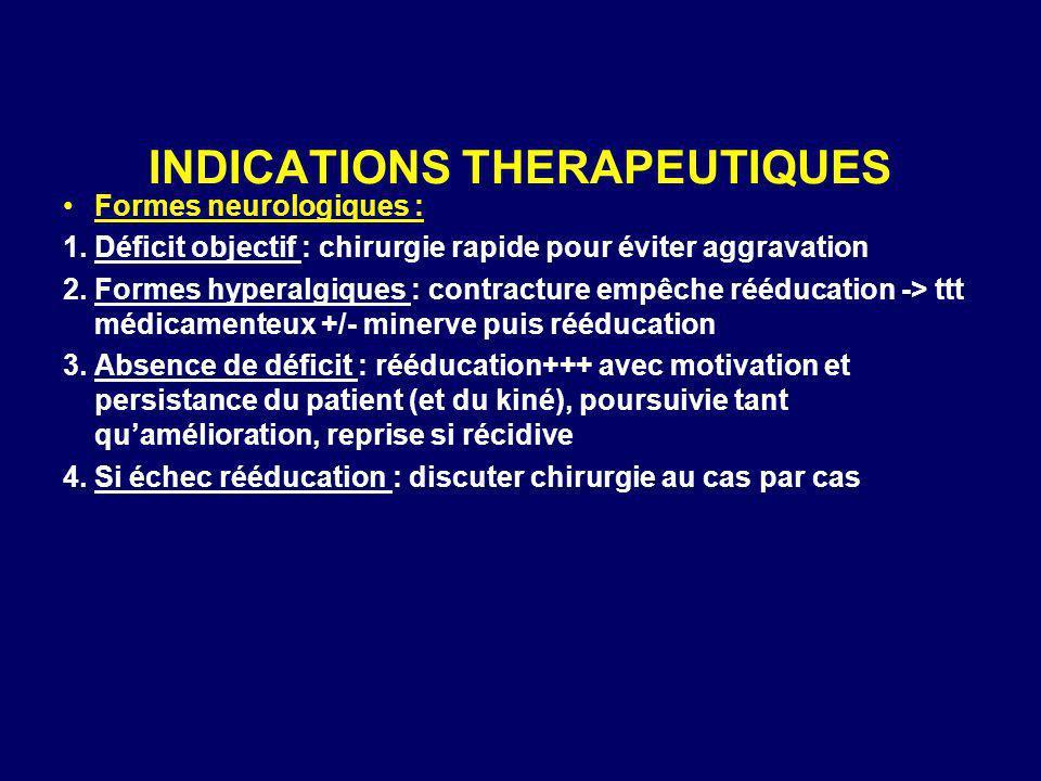 INDICATIONS THERAPEUTIQUES Formes neurologiques : 1.Déficit objectif : chirurgie rapide pour éviter aggravation 2.Formes hyperalgiques : contracture e