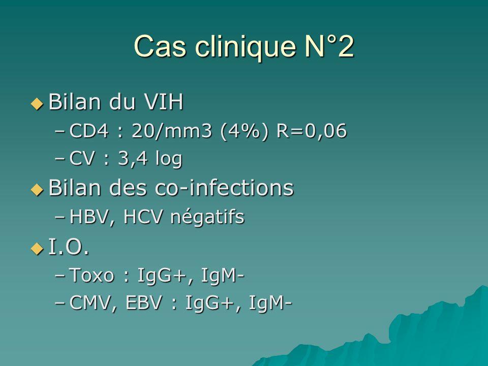 Cas clinique N°2 Bilan du VIH Bilan du VIH –CD4 : 20/mm3 (4%) R=0,06 –CV : 3,4 log Bilan des co-infections Bilan des co-infections –HBV, HCV négatifs