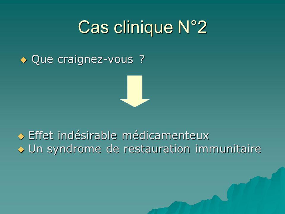 Cas clinique N°2 Effet indésirable médicamenteux Effet indésirable médicamenteux Un syndrome de restauration immunitaire Un syndrome de restauration i