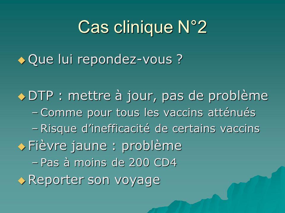 Cas clinique N°2 Que lui repondez-vous ? Que lui repondez-vous ? DTP : mettre à jour, pas de problème DTP : mettre à jour, pas de problème –Comme pour