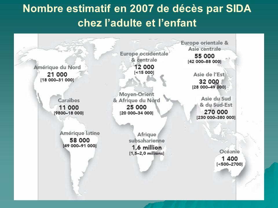 Nombre estimatif en 2007 de décès par SIDA chez ladulte et lenfant