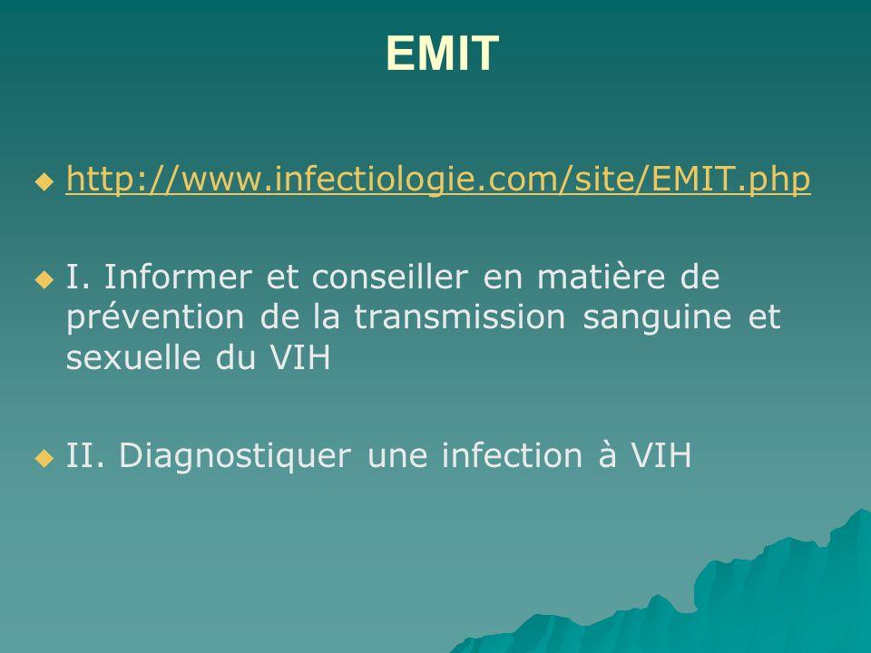 EMIT http://www.infectiologie.com/site/EMIT.php I. Informer et conseiller en matière de prévention de la transmission sanguine et sexuelle du VIH II.