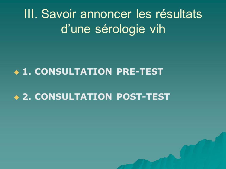 III. Savoir annoncer les résultats dune sérologie vih 1. CONSULTATION PRE-TEST 2. CONSULTATION POST-TEST