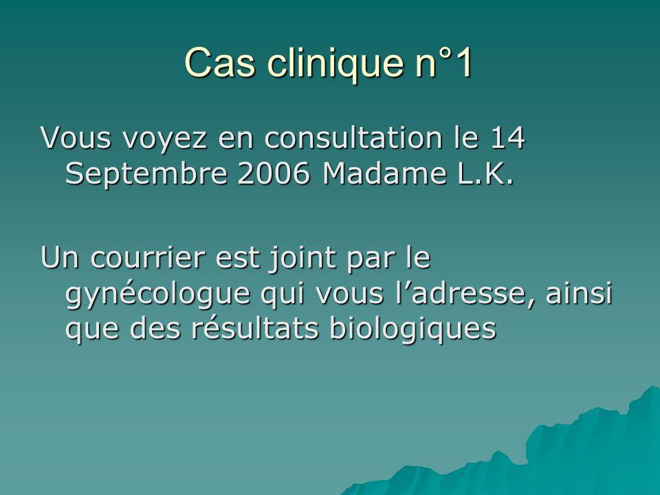 Cas clinique n°1 Vous voyez en consultation le 14 Septembre 2006 Madame L.K. Un courrier est joint par le gynécologue qui vous ladresse, ainsi que des