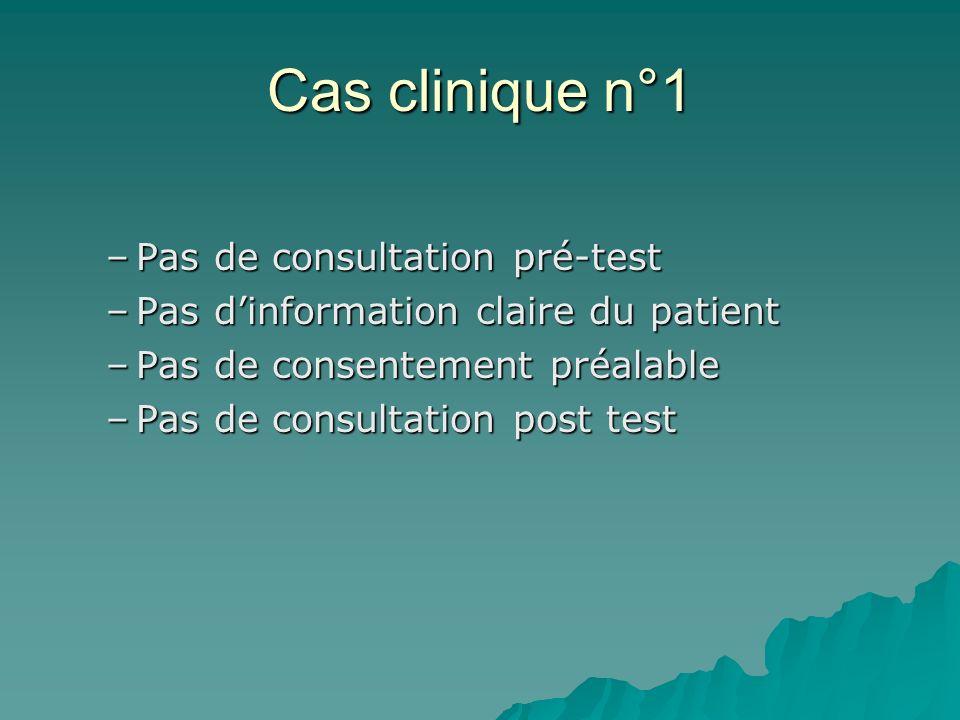 Cas clinique n°1 –Pas de consultation pré-test –Pas dinformation claire du patient –Pas de consentement préalable –Pas de consultation post test