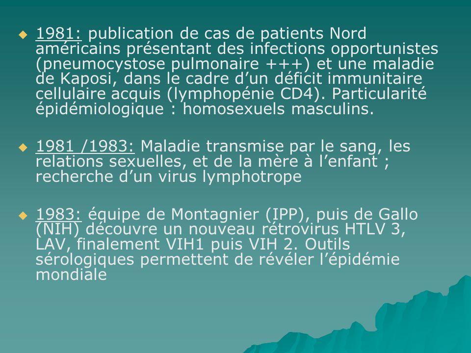 1981: publication de cas de patients Nord américains présentant des infections opportunistes (pneumocystose pulmonaire +++) et une maladie de Kaposi,
