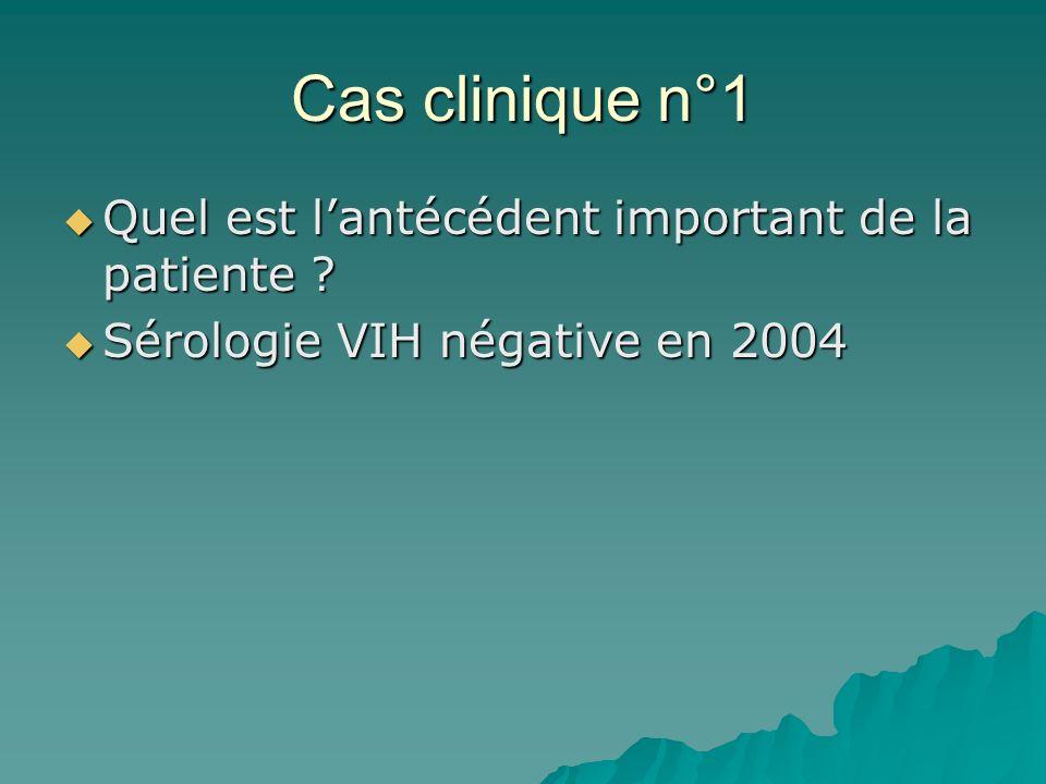 Cas clinique n°1 Quel est lantécédent important de la patiente ? Quel est lantécédent important de la patiente ? Sérologie VIH négative en 2004 Sérolo