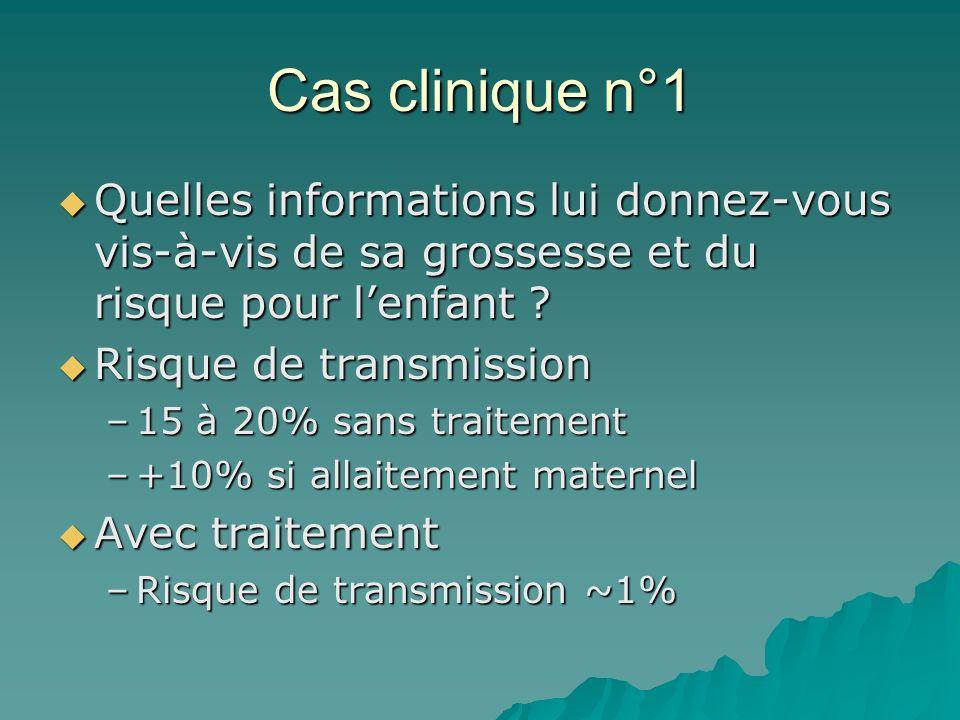 Cas clinique n°1 Quelles informations lui donnez-vous vis-à-vis de sa grossesse et du risque pour lenfant ? Quelles informations lui donnez-vous vis-à