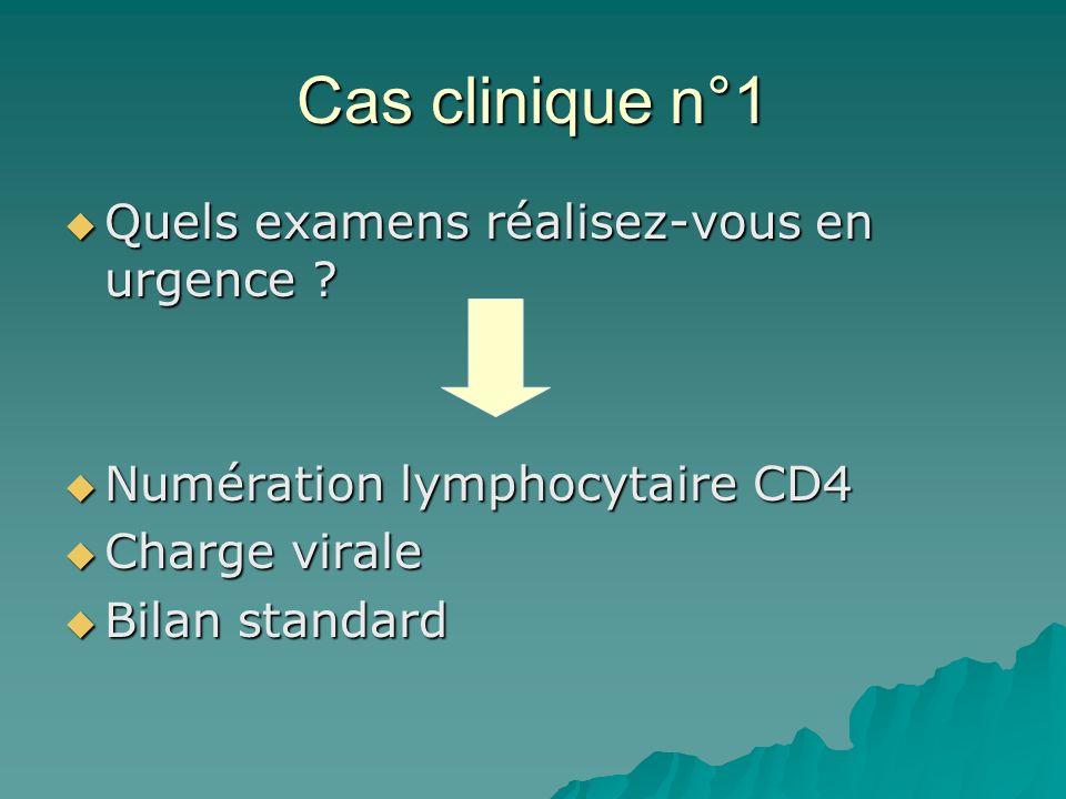 Cas clinique n°1 Quels examens réalisez-vous en urgence ? Quels examens réalisez-vous en urgence ? Numération lymphocytaire CD4 Numération lymphocytai