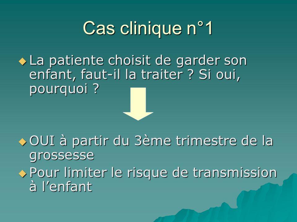 Cas clinique n°1 La patiente choisit de garder son enfant, faut-il la traiter ? Si oui, pourquoi ? La patiente choisit de garder son enfant, faut-il l