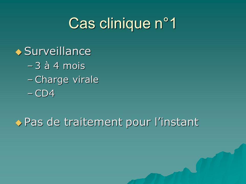 Cas clinique n°1 Surveillance Surveillance –3 à 4 mois –Charge virale –CD4 Pas de traitement pour linstant Pas de traitement pour linstant
