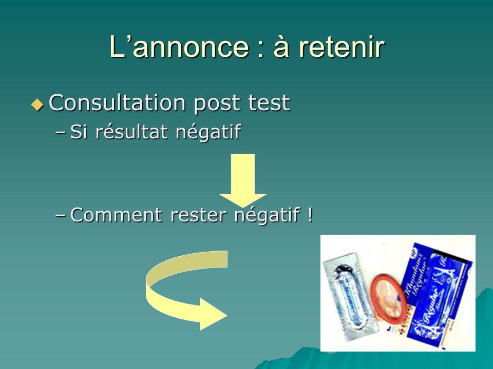 Lannonce : à retenir Consultation post test Consultation post test –Si résultat négatif –Comment rester négatif !