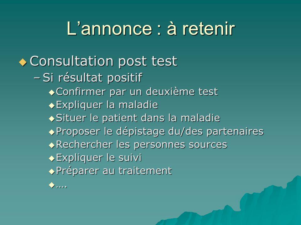 Lannonce : à retenir Consultation post test Consultation post test –Si résultat positif Confirmer par un deuxième test Confirmer par un deuxième test