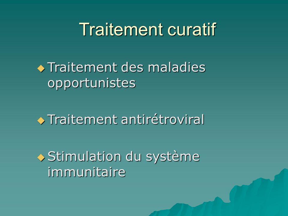 Traitement curatif Traitement des maladies opportunistes Traitement des maladies opportunistes Traitement antirétroviral Traitement antirétroviral Sti