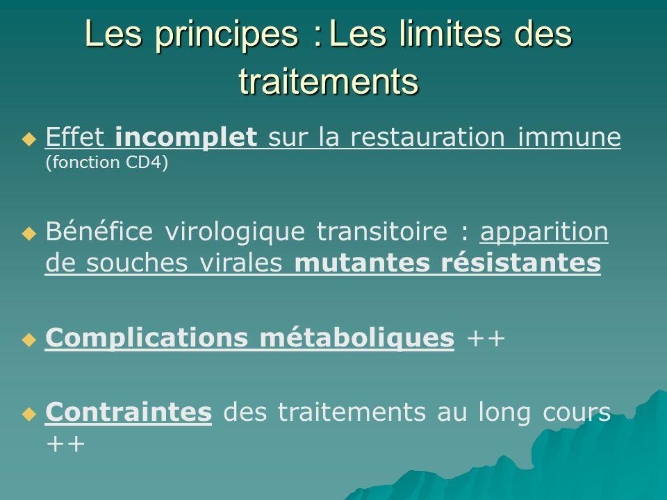 Les principes :Les limites des traitements Les principes : Les limites des traitements Effet incomplet sur la restauration immune (fonction CD4) Bénéf